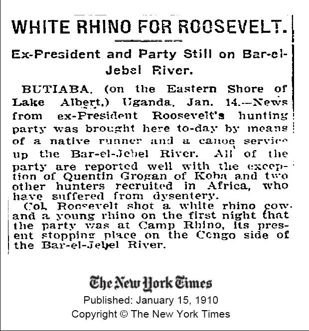 Pres Rooseveld and rhino hunt